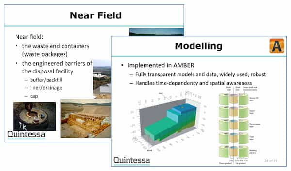 Two screenshots of slides from the training course, entitled 'Near Field' and 'Modelling' and illustrated with images